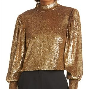 A.L.C. Margaret Sequin Mock Neck Top, SIZE 4